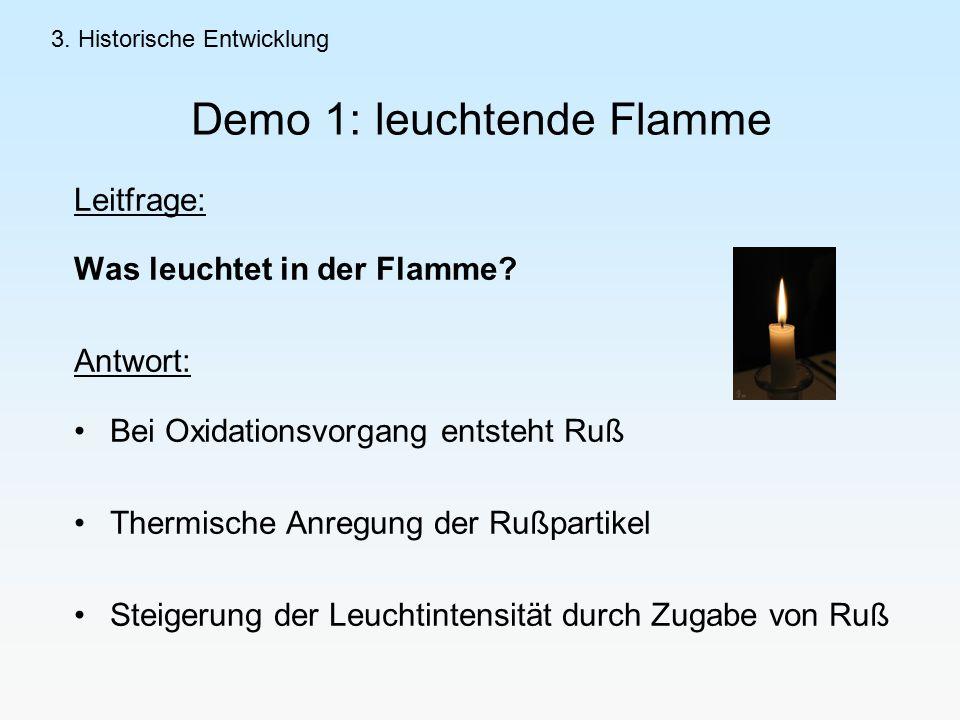Demo 1: leuchtende Flamme Leitfrage: Was leuchtet in der Flamme.