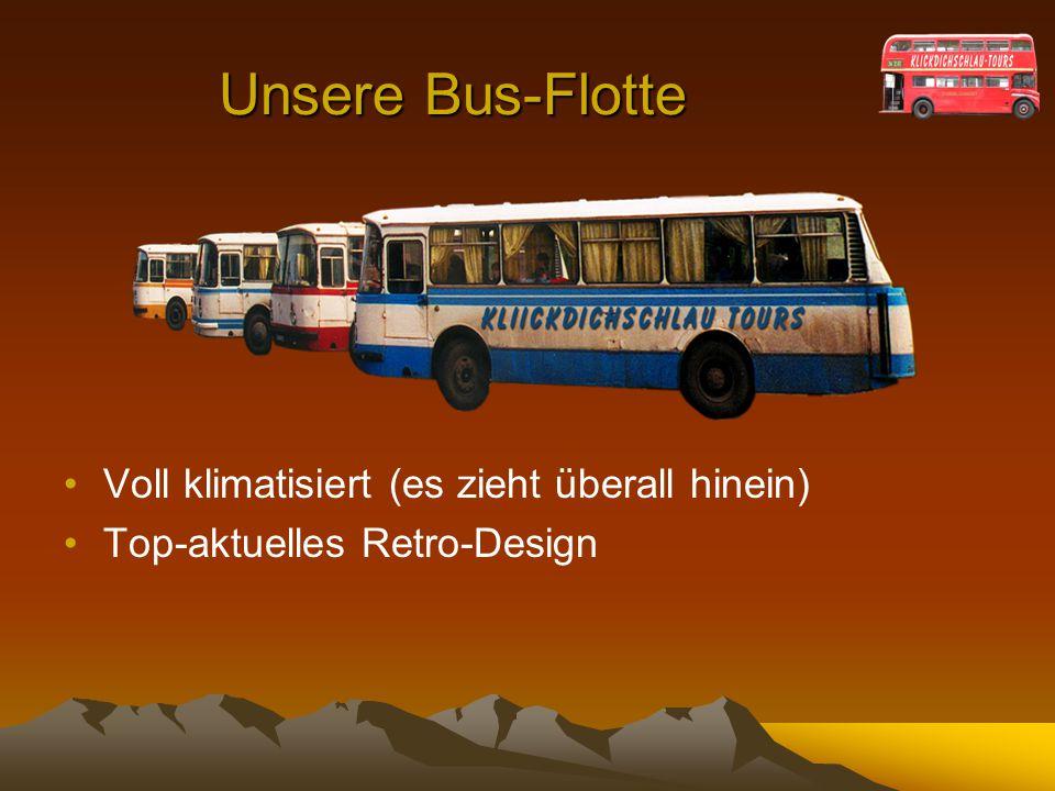Unsere Bus-Flotte Voll klimatisiert (es zieht überall hinein) Top-aktuelles Retro-Design