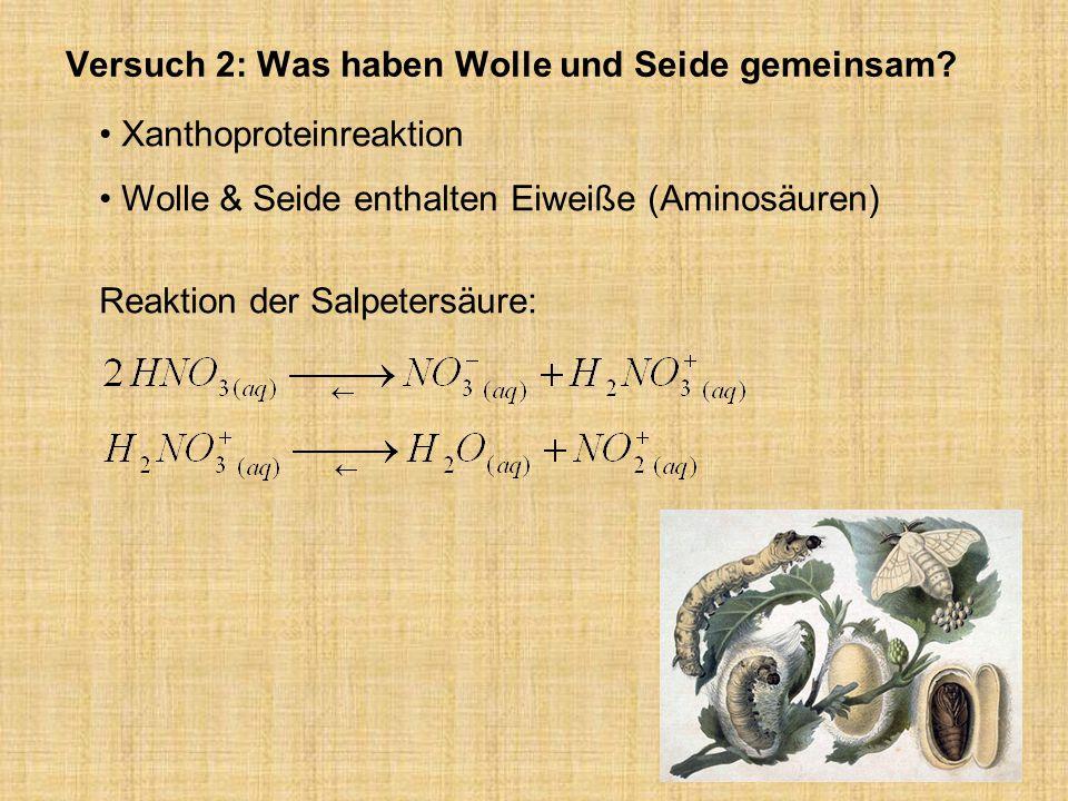 Versuch 2: Was haben Wolle und Seide gemeinsam? Xanthoproteinreaktion Wolle & Seide enthalten Eiweiße (Aminosäuren) Reaktion der Salpetersäure: