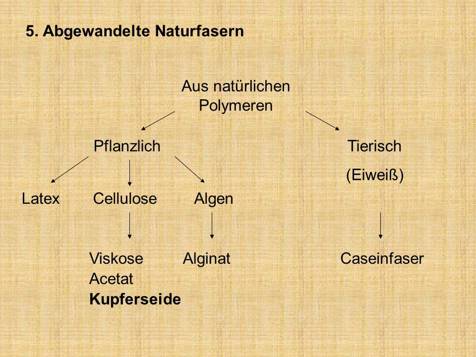 5. Abgewandelte Naturfasern Aus natürlichen Polymeren Tierisch (Eiweiß) Pflanzlich LatexCelluloseAlgen Viskose Acetat Kupferseide AlginatCaseinfaser
