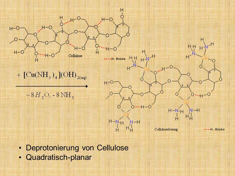Deprotonierung von Cellulose Quadratisch-planar