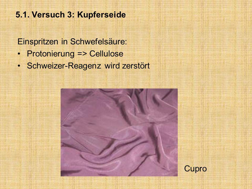 5.1. Versuch 3: Kupferseide Einspritzen in Schwefelsäure: Protonierung => Cellulose Schweizer-Reagenz wird zerstört Cupro