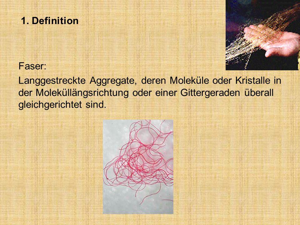 1. Definition Faser: Langgestreckte Aggregate, deren Moleküle oder Kristalle in der Moleküllängsrichtung oder einer Gittergeraden überall gleichgerich