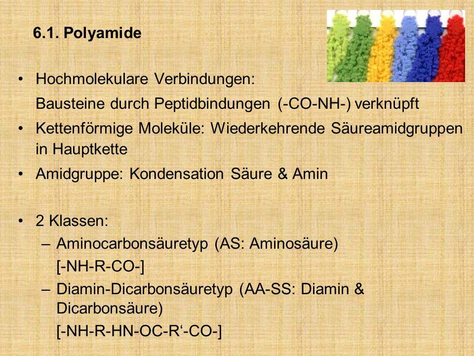 6.1. Polyamide Hochmolekulare Verbindungen: Bausteine durch Peptidbindungen (-CO-NH-) verknüpft Kettenförmige Moleküle: Wiederkehrende Säureamidgruppe
