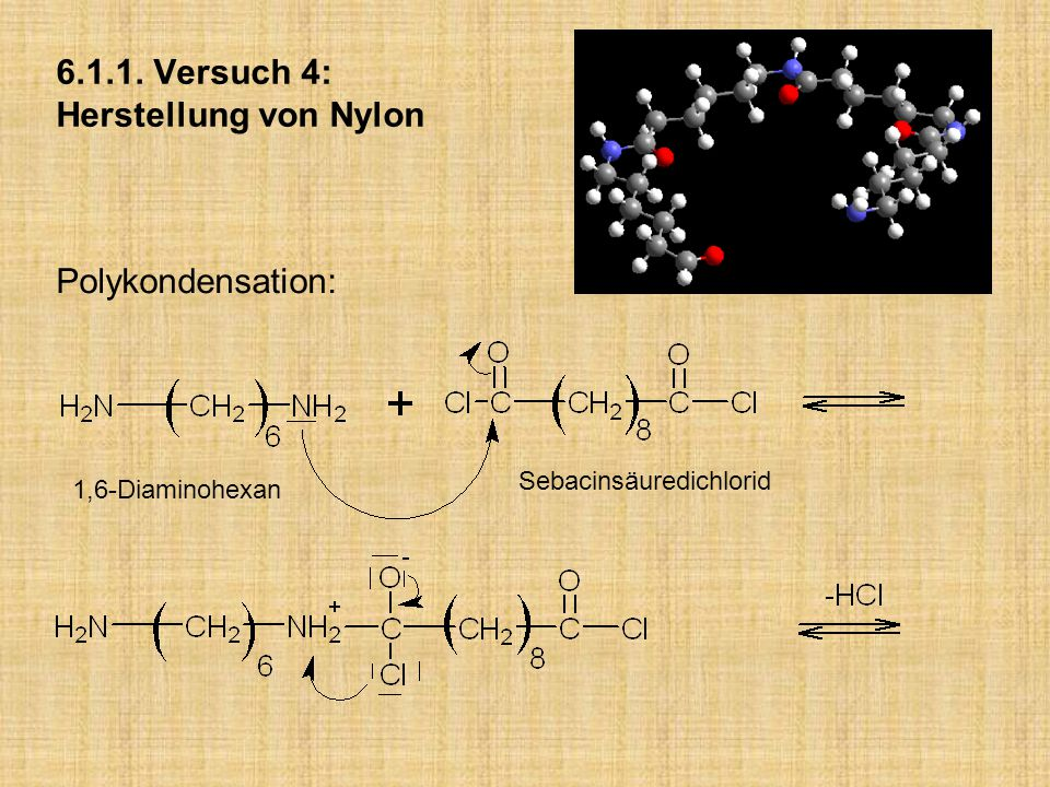 6.1.1. Versuch 4: Herstellung von Nylon Polykondensation: 1,6-Diaminohexan Sebacinsäuredichlorid