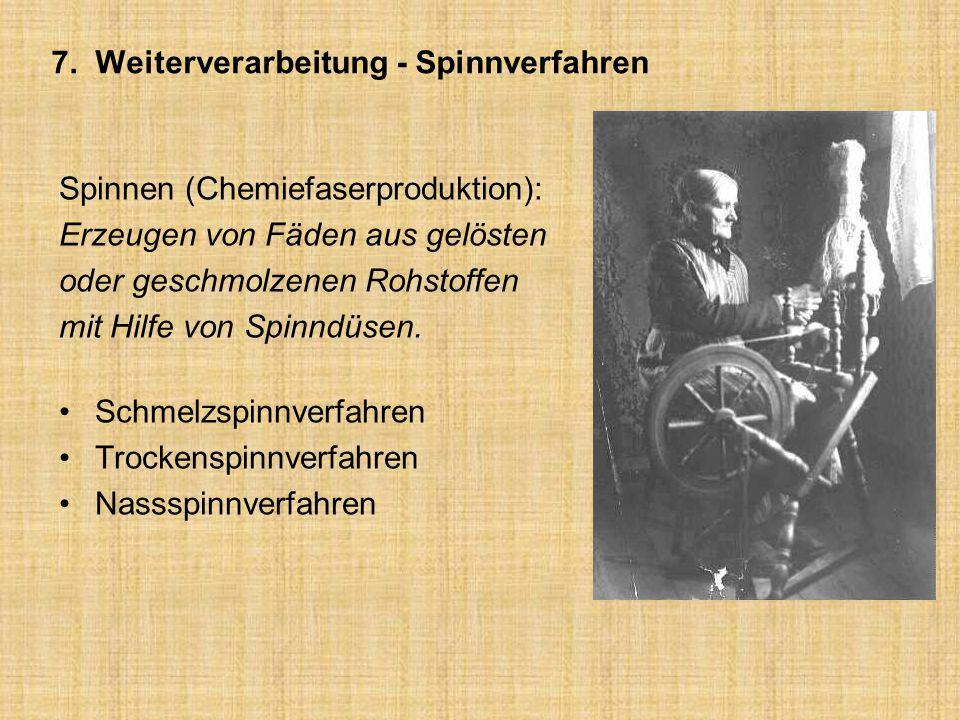 7. Weiterverarbeitung - Spinnverfahren Spinnen (Chemiefaserproduktion): Erzeugen von Fäden aus gelösten oder geschmolzenen Rohstoffen mit Hilfe von Sp