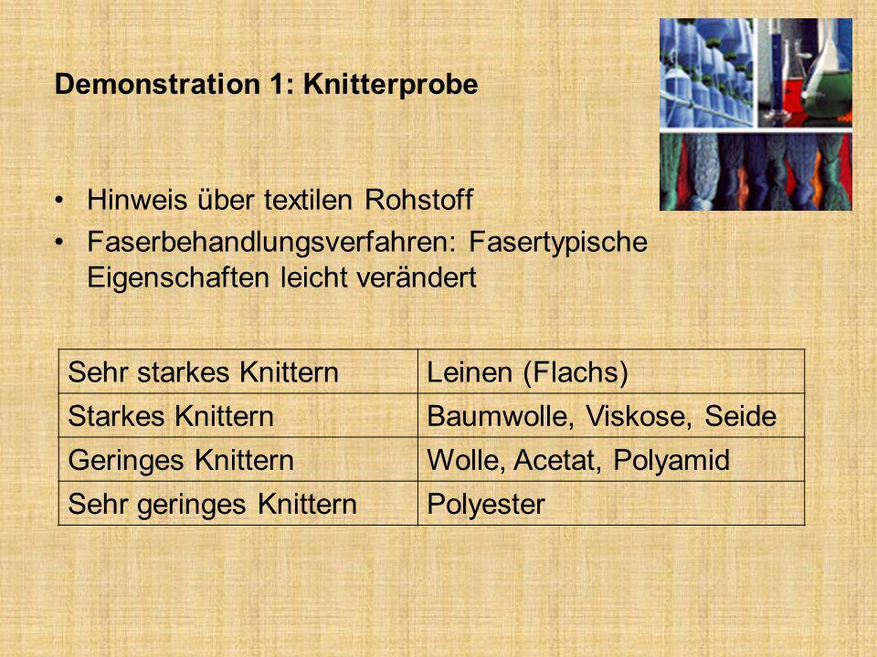 Demonstration 1: Knitterprobe Hinweis über textilen Rohstoff Faserbehandlungsverfahren: Fasertypische Eigenschaften leicht verändert Sehr starkes Knit