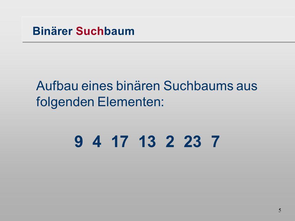 5 9 4 17 13 2 23 7 Binärer Suchbaum Aufbau eines binären Suchbaums aus folgenden Elementen: