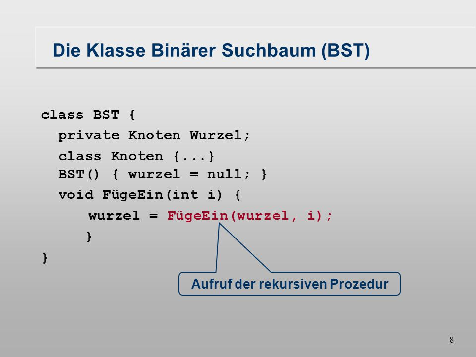 8 Die Klasse Binärer Suchbaum (BST) class BST { private Knoten Wurzel; class Knoten {...} BST() { wurzel = null; } void FügeEin(int i) { wurzel = FügeEin(wurzel, i); } Aufruf der rekursiven Prozedur