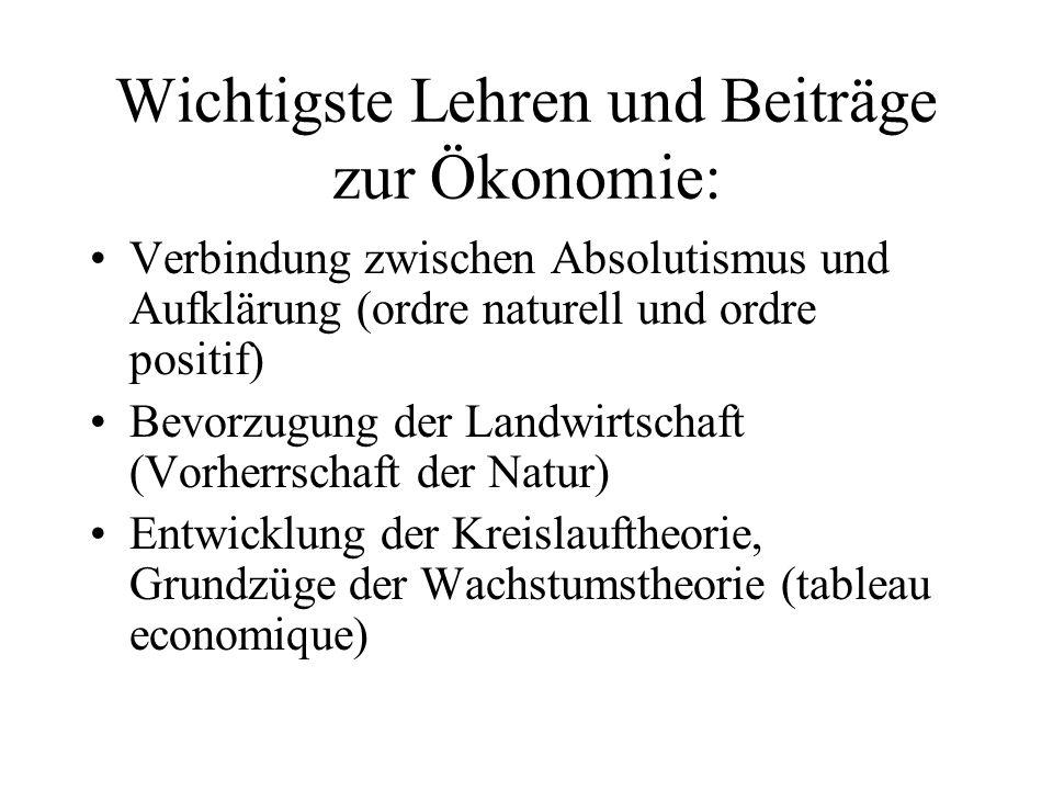 Wichtigste Lehren und Beiträge zur Ökonomie: Verbindung zwischen Absolutismus und Aufklärung (ordre naturell und ordre positif) Bevorzugung der Landwi