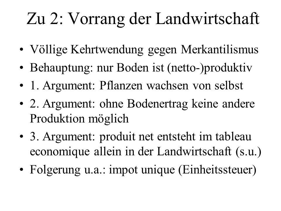 Zu 2: Vorrang der Landwirtschaft Völlige Kehrtwendung gegen Merkantilismus Behauptung: nur Boden ist (netto-)produktiv 1. Argument: Pflanzen wachsen v