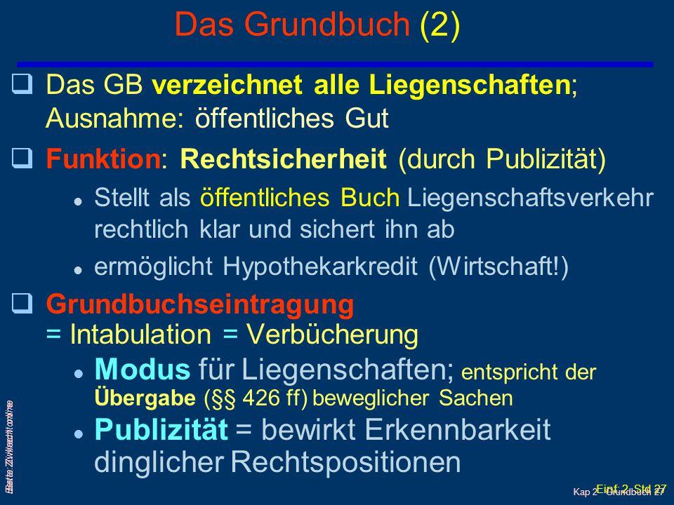 Einf: 2. Std 26 Barta: Zivilrecht online qDas Grundbuch ist ein öffentliches Buch, in das die dinglichen und verdinglichbaren Rechte an Liegenschaften