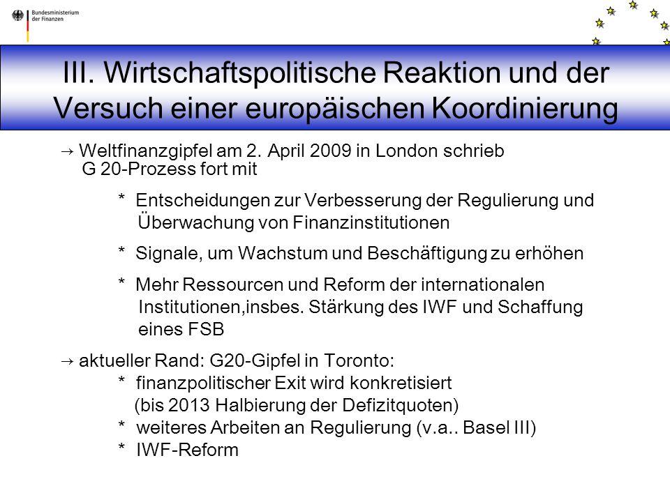 → Weltfinanzgipfel am 2. April 2009 in London schrieb G 20-Prozess fort mit * Entscheidungen zur Verbesserung der Regulierung und Überwachung von Fina