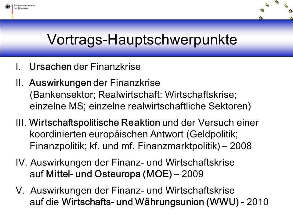 Vortrags-Hauptschwerpunkte I. Ursachen der Finanzkrise II. Auswirkungen der Finanzkrise (Bankensektor; Realwirtschaft: Wirtschaftskrise; einzelne MS;