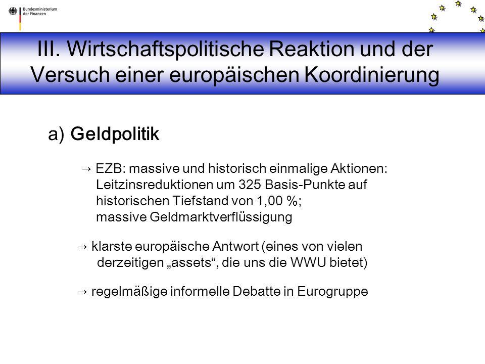 III. Wirtschaftspolitische Reaktion und der Versuch einer europäischen Koordinierung a) Geldpolitik → EZB: massive und historisch einmalige Aktionen: