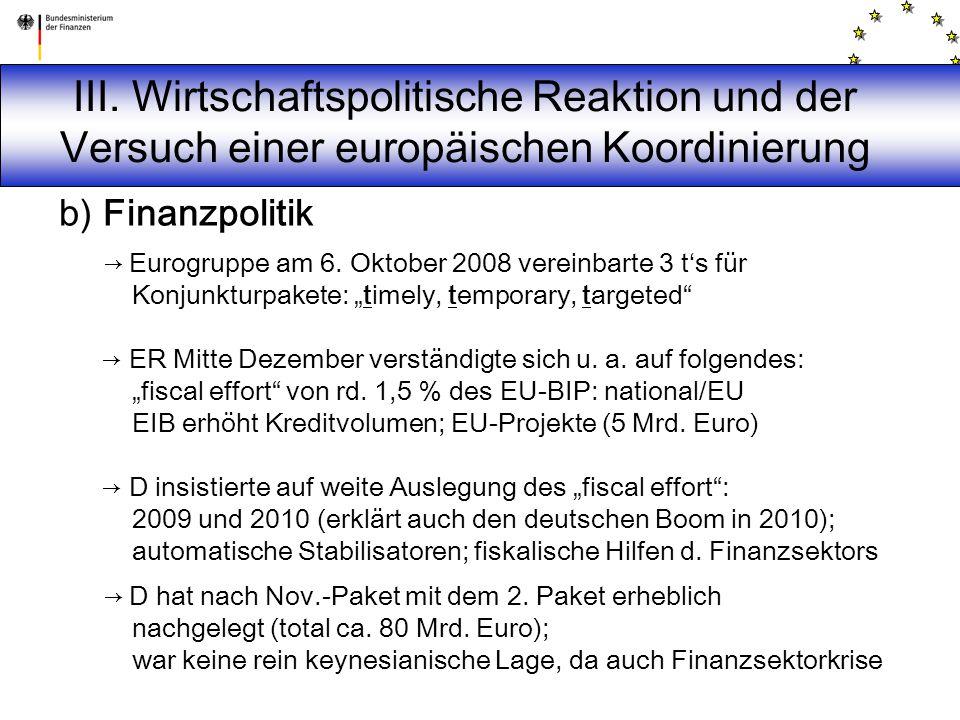 III. Wirtschaftspolitische Reaktion und der Versuch einer europäischen Koordinierung b) Finanzpolitik → Eurogruppe am 6. Oktober 2008 vereinbarte 3 t'