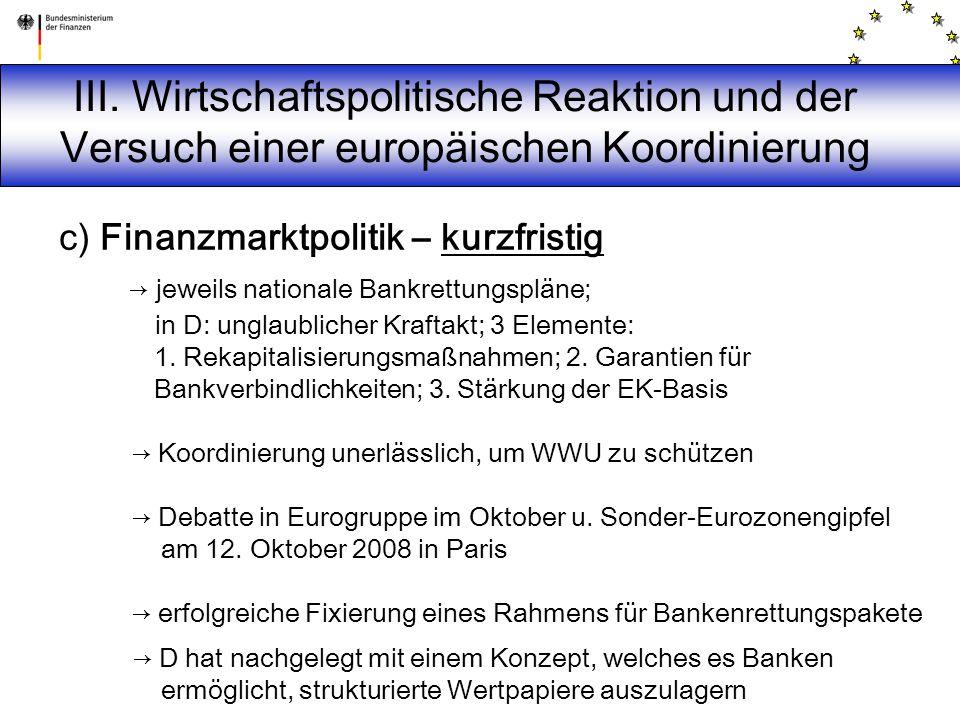 c) Finanzmarktpolitik – kurzfristig → jeweils nationale Bankrettungspläne; in D: unglaublicher Kraftakt; 3 Elemente: 1. Rekapitalisierungsmaßnahmen; 2