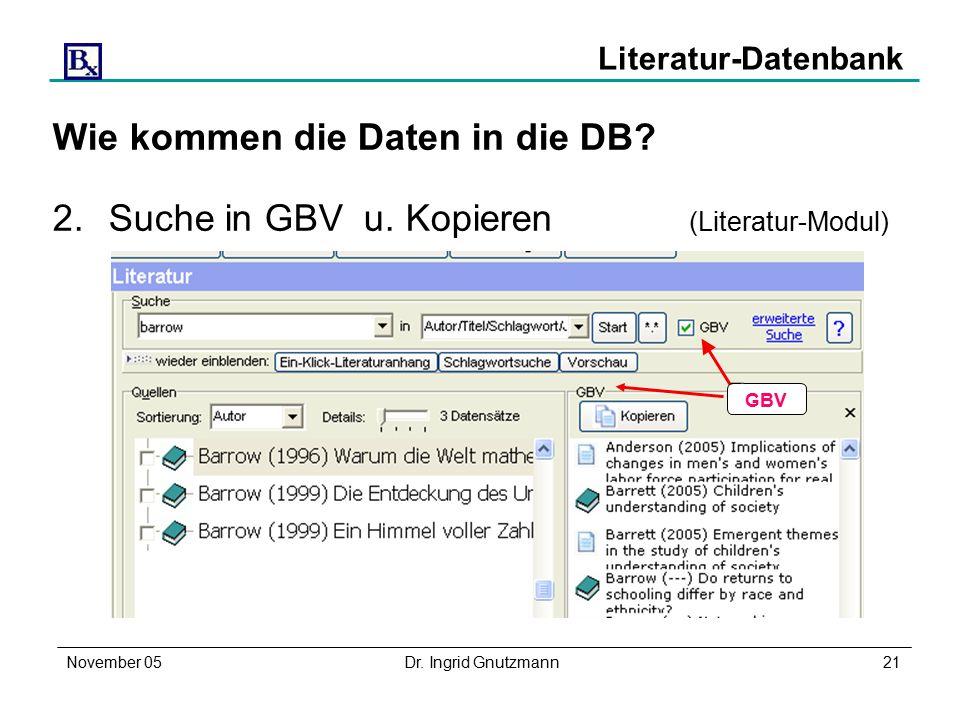 November 05Dr. Ingrid Gnutzmann21 Literatur-Datenbank Wie kommen die Daten in die DB.