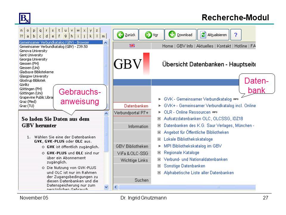 November 05Dr. Ingrid Gnutzmann27 Recherche-Modul Daten- bank Gebrauchs- anweisung