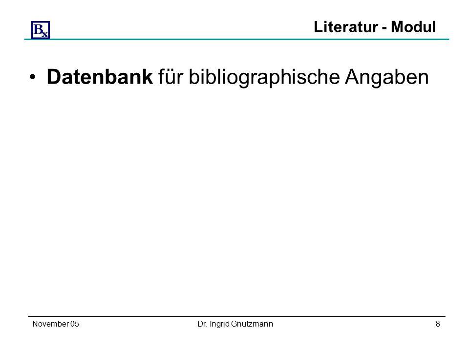 November 05Dr. Ingrid Gnutzmann8 Literatur - Modul Datenbank für bibliographische Angaben