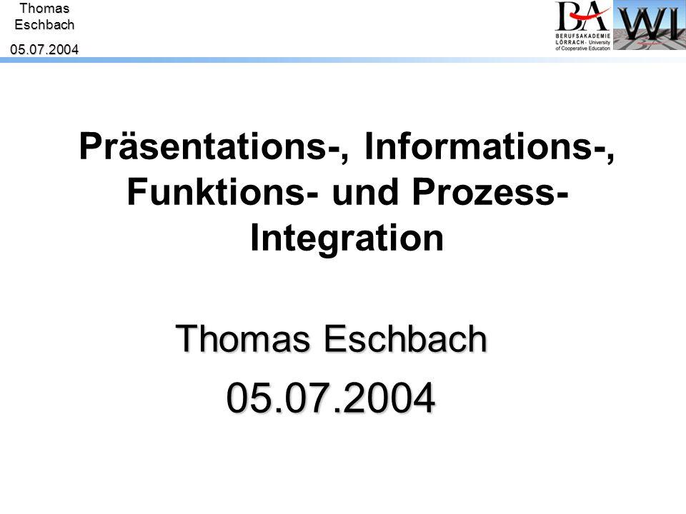 ThomasEschbach05.07.2004 AnalyseAnforderungenLösungskonzepte - 1:1-Integration ist eine Sackgasse - die Ebenen der Integration müssen auseinander gehalten werden - Voraussetzung sind Standards  Standards müssen sorgfältig gewählt werden - Voraussetzung für Präsentations-, Prozess-, Informations- und Funktionsintegration ist Hardwareintegration!