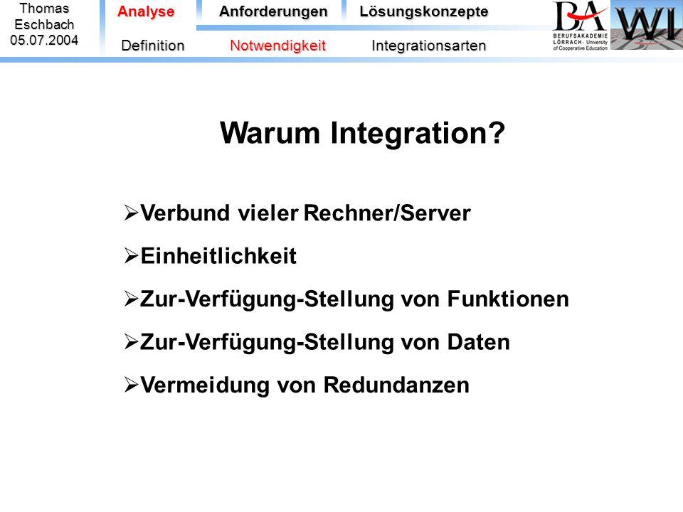 ThomasEschbach05.07.2004 Warum Integration?  Verbund vieler Rechner/Server  Einheitlichkeit  Zur-Verfügung-Stellung von Funktionen  Zur-Verfügung-