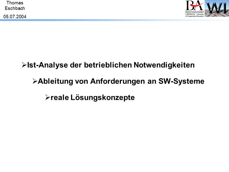 ThomasEschbach05.07.2004 AnalyseAnforderungenLösungskonzepte Erweiterbarkeit und Wiederverwendbarkeit Die Lösung sollte erweiterungsfähig und für das laufende wie auch zukünftige Projekte wiederverwendbar sein.