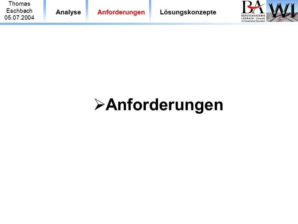 ThomasEschbach05.07.2004 AnalyseAnforderungenLösungskonzepte  Anforderungen