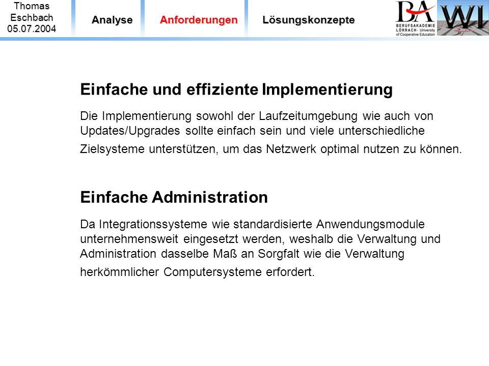 ThomasEschbach05.07.2004 AnalyseAnforderungenLösungskonzepte Einfache und effiziente Implementierung Die Implementierung sowohl der Laufzeitumgebung w