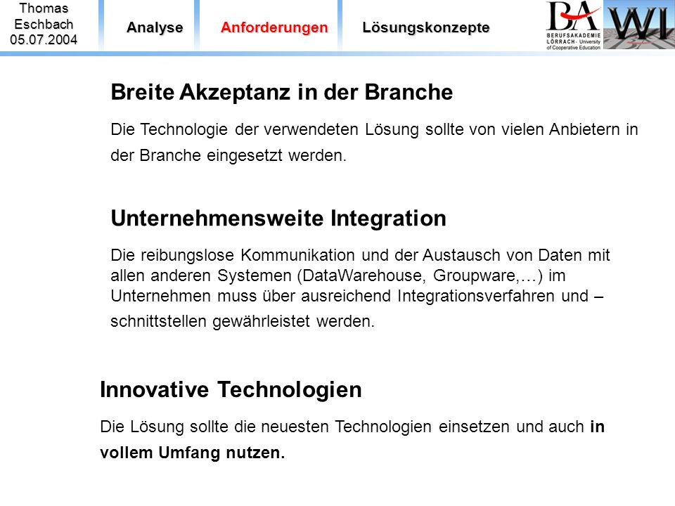 ThomasEschbach05.07.2004 AnalyseAnforderungenLösungskonzepte Breite Akzeptanz in der Branche Die Technologie der verwendeten Lösung sollte von vielen