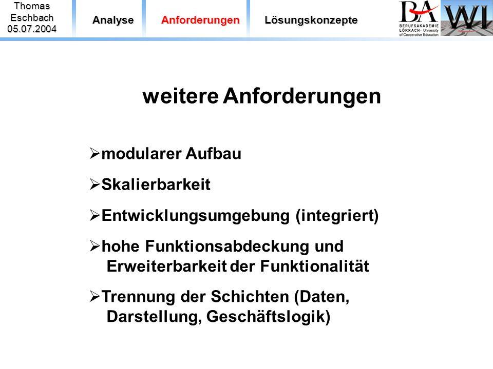 ThomasEschbach05.07.2004 AnalyseAnforderungenLösungskonzepte weitere Anforderungen  modularer Aufbau  Skalierbarkeit  Entwicklungsumgebung (integri