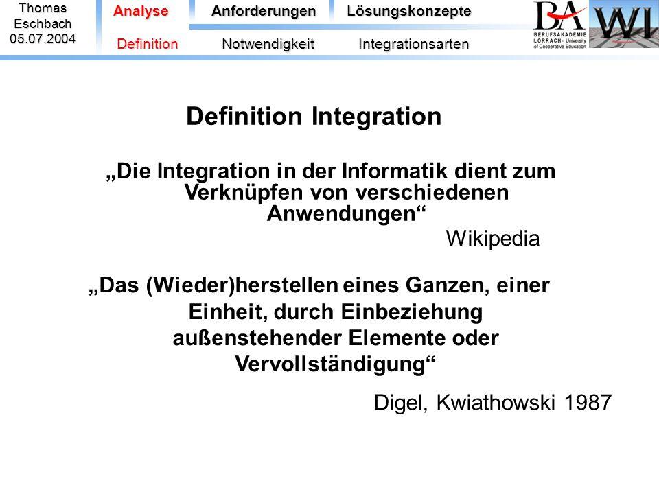 """Definition Integration """"Zusammenschluss von Teilen zu einem Ganzen, das gegenüber seinen Teilen eine neue Qualität aufweist ThomasEschbach05.07.2004 Analyse BI Universallexikon, 1989 AnforderungenLösungskonzepte DefinitionNotwendigkeitIntegrationsarten"""