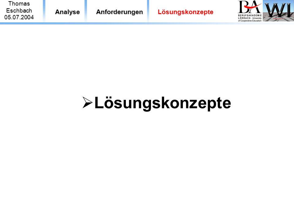 ThomasEschbach05.07.2004 AnalyseAnforderungenLösungskonzepte  Lösungskonzepte