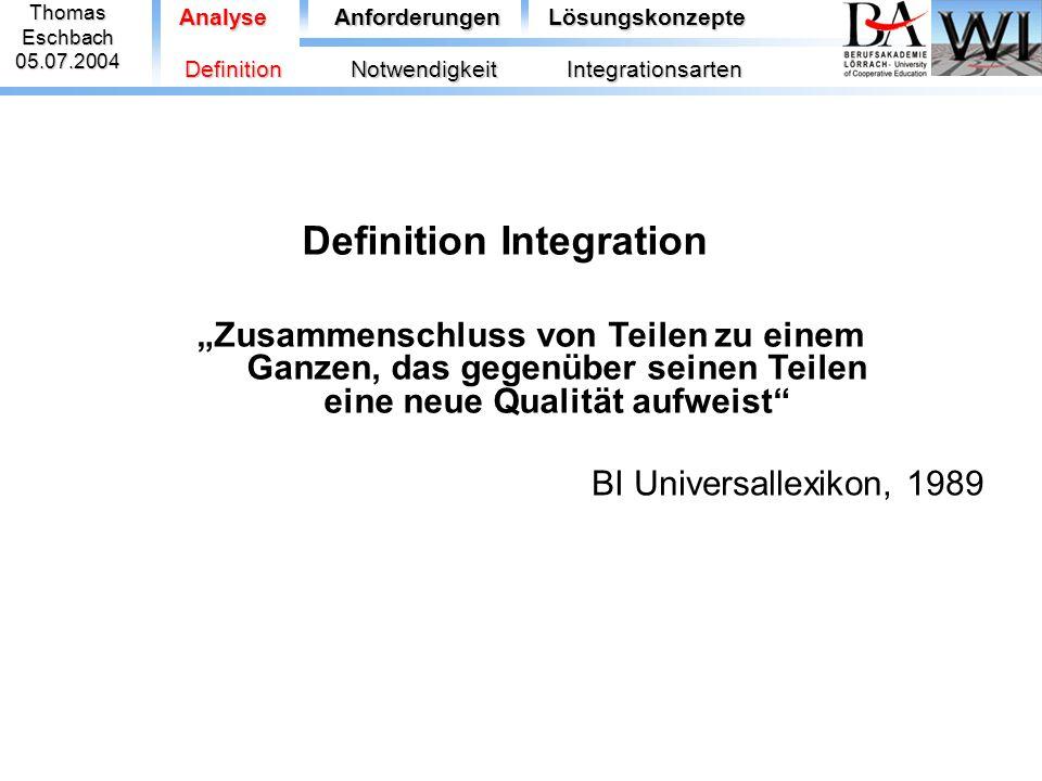 ThomasEschbach05.07.2004 AnalyseAnforderungenLösungskonzepte  Informationsintegration - Notwendigkeit der erneuten Programmierung der Logik - Wartungsaufwand / Abhängigkeit vom verwendeten Datenmodell - durch Umgehen der Applikationslogik mögliche Integritätsprobleme DefinitionNotwendigkeitIntegrationsarten