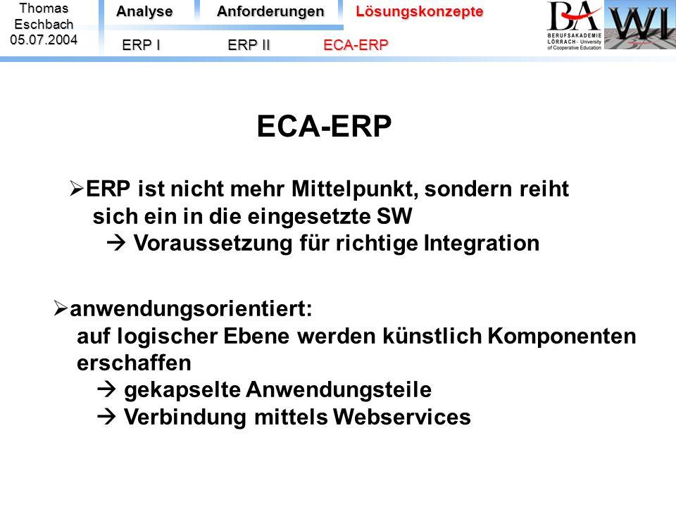 ThomasEschbach05.07.2004 ECA-ERP AnalyseAnforderungenLösungskonzepte ERP I  anwendungsorientiert: auf logischer Ebene werden künstlich Komponenten er