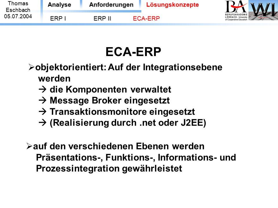 ThomasEschbach05.07.2004 ECA-ERP AnalyseAnforderungenLösungskonzepte ERP I  auf den verschiedenen Ebenen werden Präsentations-, Funktions-, Informati