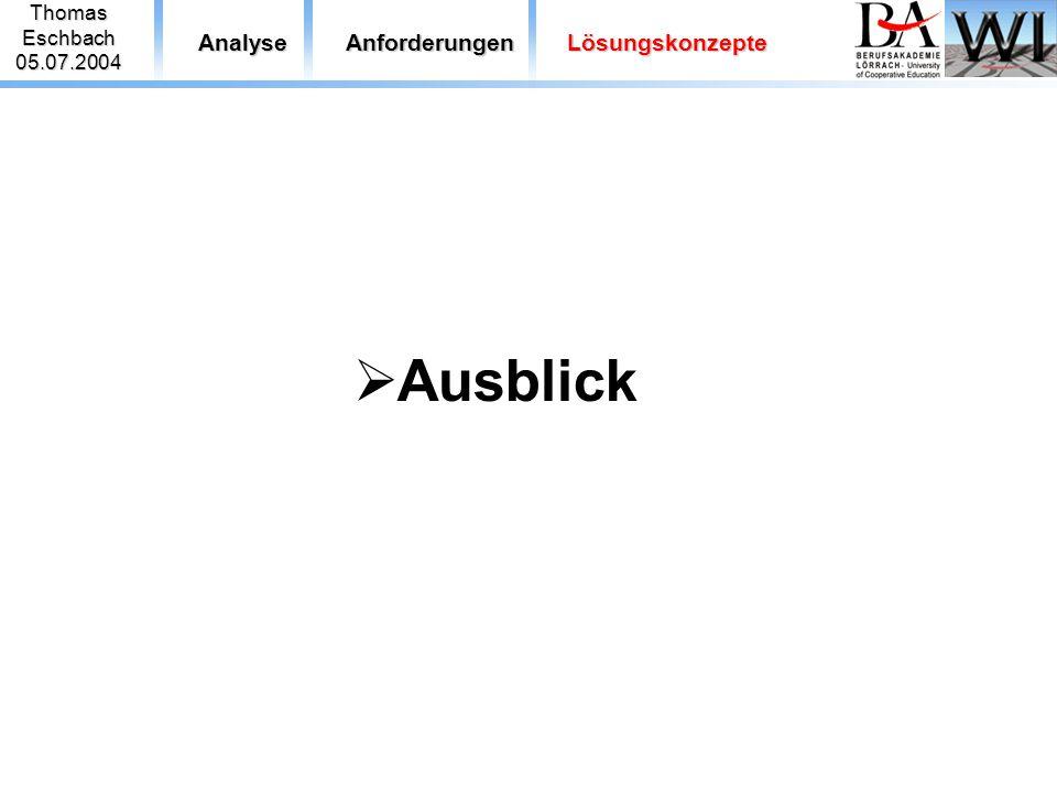 ThomasEschbach05.07.2004 AnalyseAnforderungenLösungskonzepte  Ausblick