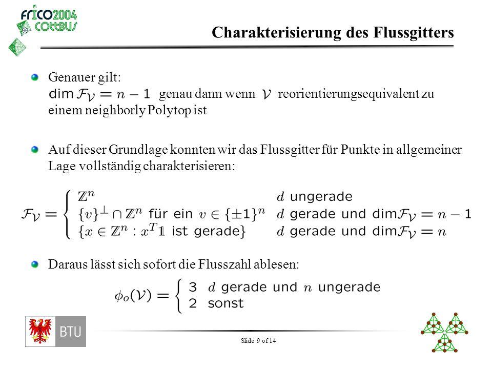 Slide 9 of 14 Charakterisierung des Flussgitters Genauer gilt: genau dann wenn reorientierungsequivalent zu einem neighborly Polytop ist Auf dieser Gr