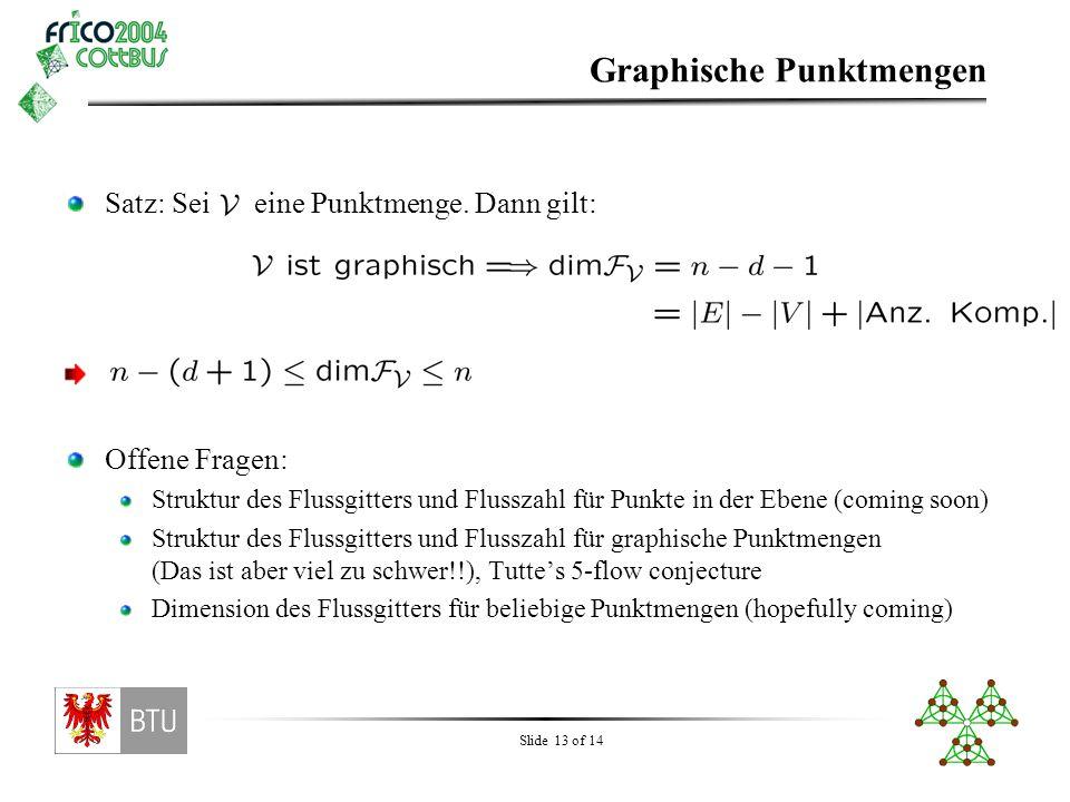 Slide 13 of 14 Graphische Punktmengen Satz: Sei eine Punktmenge. Dann gilt: Offene Fragen: Struktur des Flussgitters und Flusszahl für Punkte in der E
