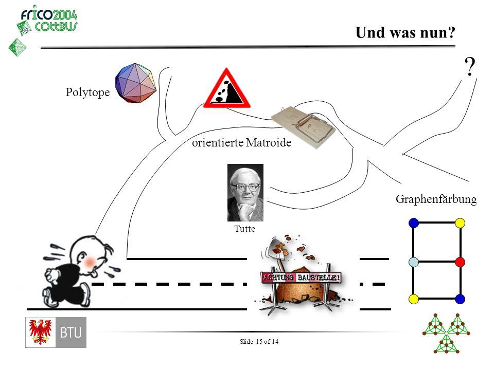 Slide 15 of 14 Und was nun? Graphenfärbung orientierte Matroide Polytope ? Tutte