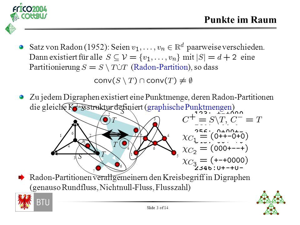 Slide 4 of 14 Reorientierung In Digraphen geschieht Reorientierung durch Umorientieren der Kanten Für Punktmengen benötigen wir etwas projektive Geometrie: Die Punkte befinden sich auf der projektiven Sphäre Reorientieren eines Elements bedeutet, dass anstelle des Punktes sein auf der anderen Sphärenhälfte liegendes Double benutzt wird Durch eine projektive Abbildung wird die neue Punktmenge wieder auf eine Halbkugel transformiert (siehe Grünbaum – Convex Polytopes) Kreise vorher: 1234:+--+0 1235:+--0+ 1245:+-0-+ 1345:+0+-+ 2345:0++-+ Kreise nachher: 1234:+-++0 1235:+-+0+ 1245:+-0-+ 1345:+0--+ 2345:0+--+
