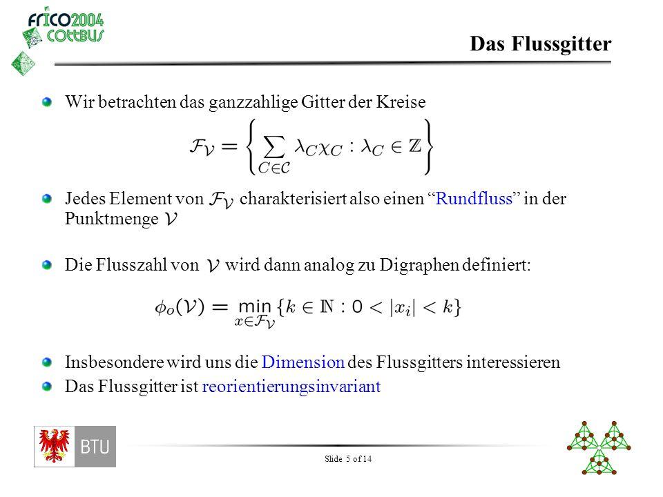 """Slide 5 of 14 Wir betrachten das ganzzahlige Gitter der Kreise Jedes Element von charakterisiert also einen """"Rundfluss"""" in der Punktmenge Die Flusszah"""