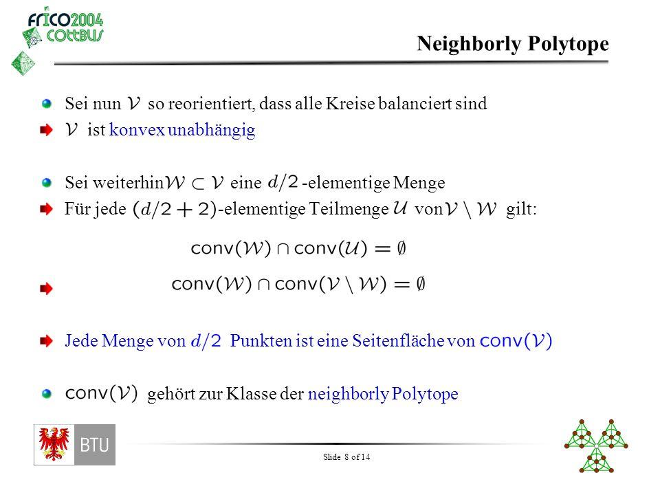 Slide 9 of 14 Charakterisierung des Flussgitters Genauer gilt: genau dann wenn reorientierungsequivalent zu einem neighborly Polytop ist Auf dieser Grundlage konnten wir das Flussgitter für Punkte in allgemeiner Lage vollständig charakterisieren: Daraus lässt sich sofort die Flusszahl ablesen: