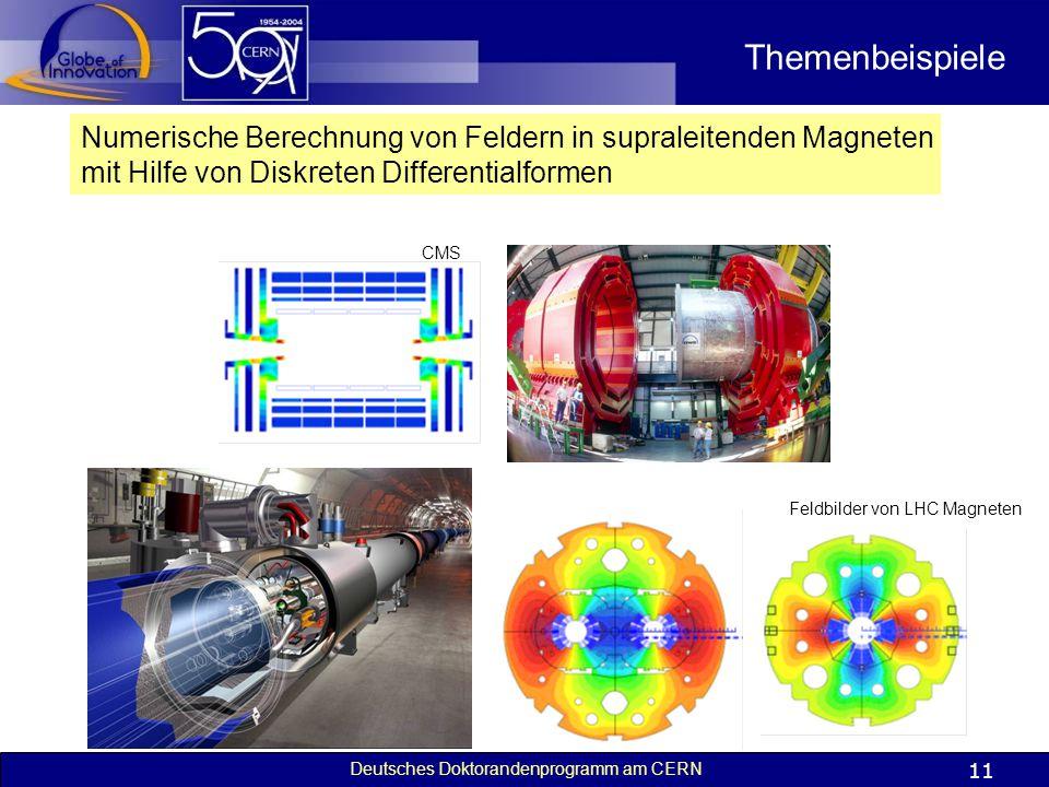 Deutsches Doktorandenprogramm am CERN 11 Themenbeispiele Numerische Berechnung von Feldern in supraleitenden Magneten mit Hilfe von Diskreten Differen