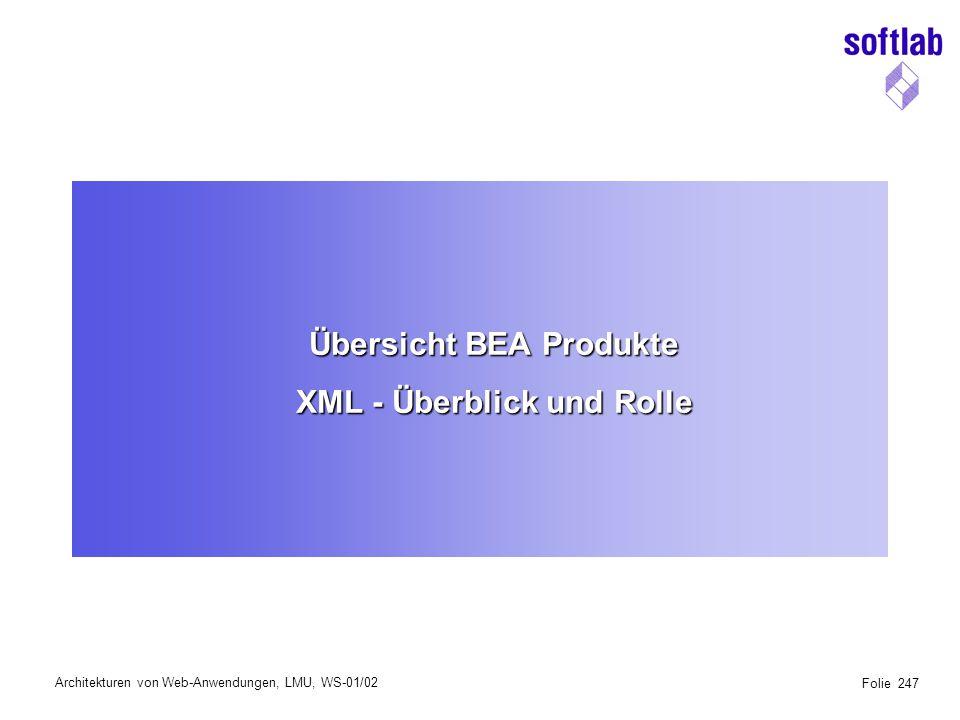 Architekturen von Web-Anwendungen, LMU, WS-01/02 Folie 247 Übersicht BEA Produkte XML - Überblick und Rolle