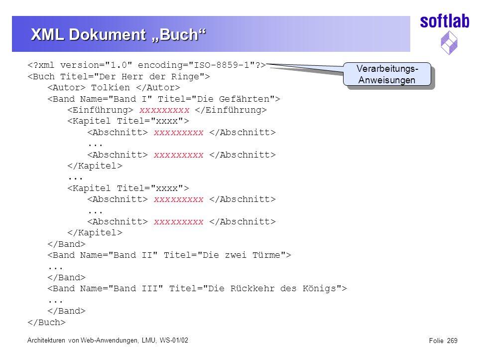 """Architekturen von Web-Anwendungen, LMU, WS-01/02 Folie 269 XML Dokument """"Buch Tolkien xxxxxxxxx xxxxxxxxx..."""