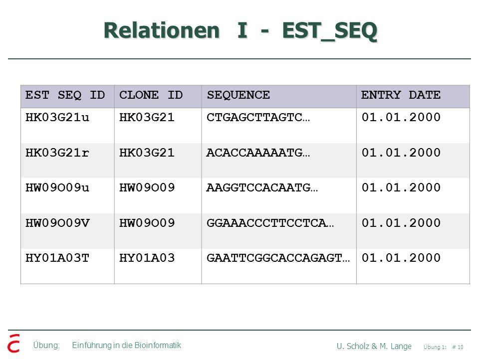Übung: Einführung in die Bioinformatik U. Scholz & M. Lange Übung 1: # 10 Relationen I - EST_SEQ EST SEQ IDCLONE IDSEQUENCEENTRY DATE HK03G21uHK03G21C