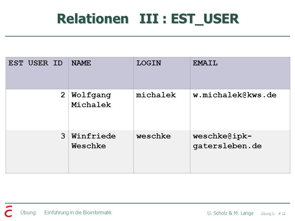 Übung: Einführung in die Bioinformatik U. Scholz & M. Lange Übung 1: # 12 Relationen III : EST_USER EST USER IDNAMELOGINEMAIL 2Wolfgang Michalek micha