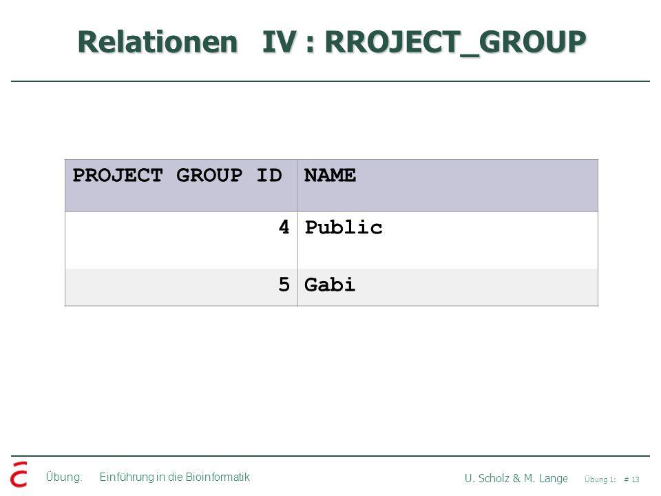 Übung: Einführung in die Bioinformatik U. Scholz & M. Lange Übung 1: # 13 Relationen IV : RROJECT_GROUP PROJECT GROUP IDNAME 4Public 5Gabi