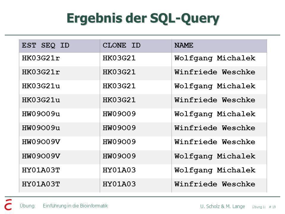Übung: Einführung in die Bioinformatik U. Scholz & M. Lange Übung 1: # 19 Ergebnis der SQL-Query EST SEQ IDCLONE IDNAME HK03G21rHK03G21Wolfgang Michal